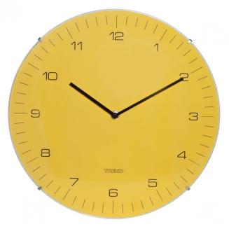 relogio parede de vidro fundo amarelo 4586
