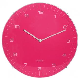 relogio parede de vidro fundo rosa 4587
