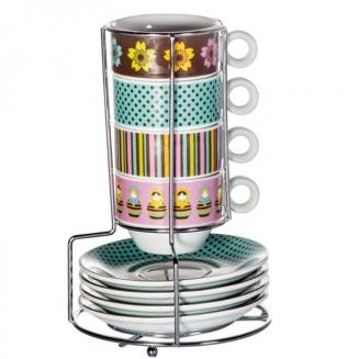 torre xicara de cafe matrioska bolinhas 4pcs 5091