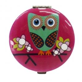 espelho de bolsa coruja rosa 5687