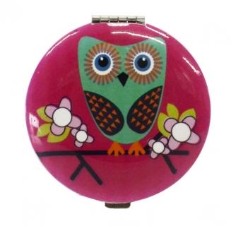 espelho de bolsa coruja rosa 5686