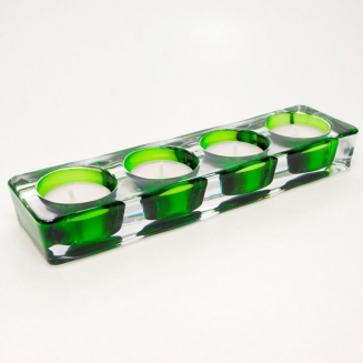 castical 4 velas vidro verde 7672