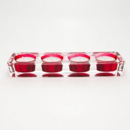 castical 4 velas vidro vermelho 7675