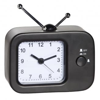 relogio despertador tv metal preto 7708