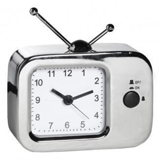 relogio despertador tv metal prata 7709